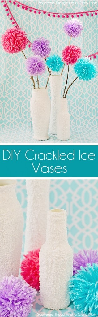 Easy Faux Crackled Ice Vases