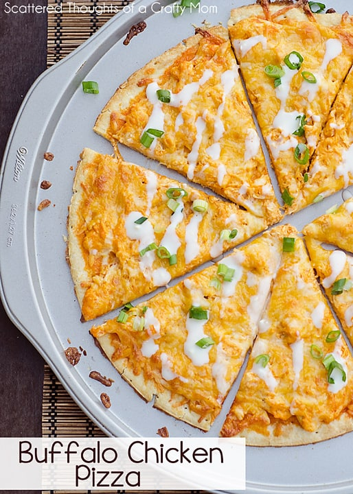 Easy Buffalo Chicken Pizza Recipe, Great way to cook once, eat twice.  #recipe #buffalochicken #pizza