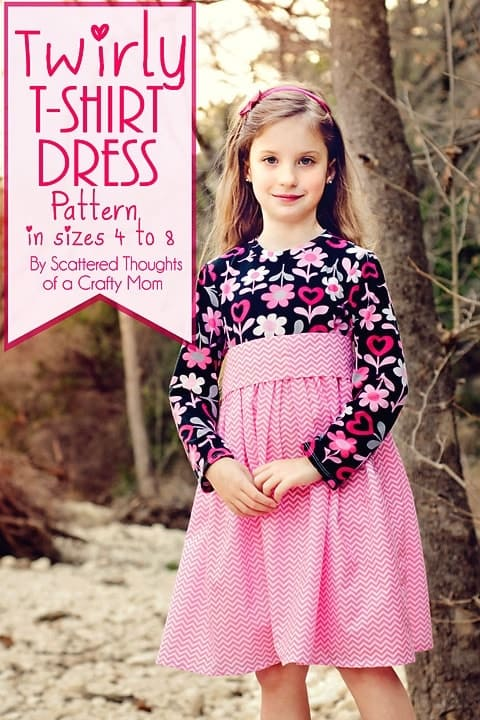 Twirly T-Shirt Dress Pattern. Tutorial with a free printable pdf pattern. (Girls sizes 4 to 8.) from www.scatteredthoughtsofacraftymom.com