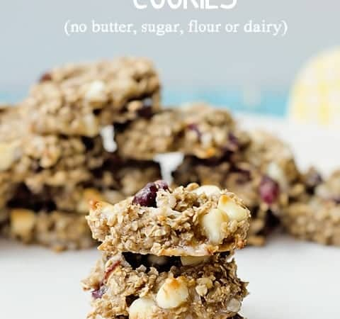 Healthy Banana and Oatmeal Cookies (no butter, sugar, flour or dairy)