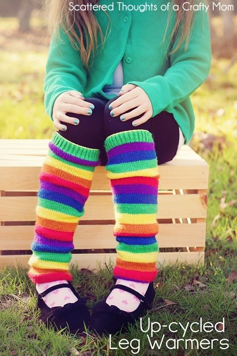 See how easy it is to make legwarmers using adult socks or sweaters.