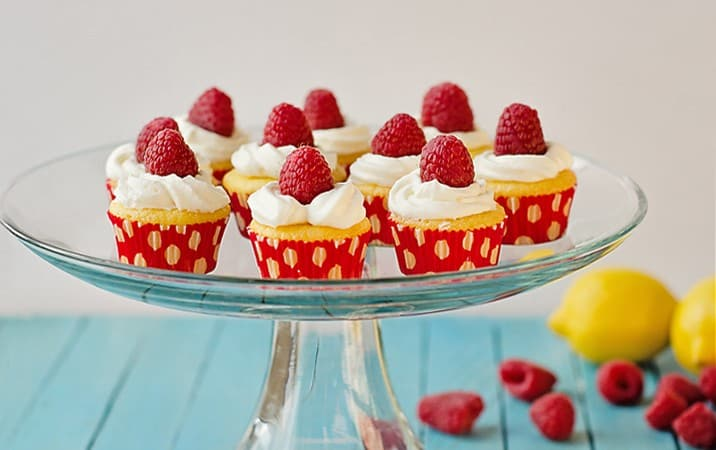Lemon Curd and Raspberry Mini-Cupcakes (from a boxed cake mix)