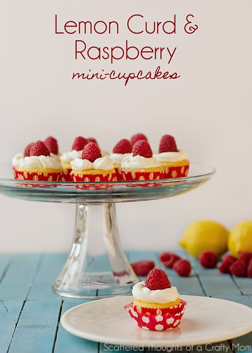 Lemon Curd and Raspberry Mini Cupcakes (from a boxed cake mix) #lemon #cupcakes