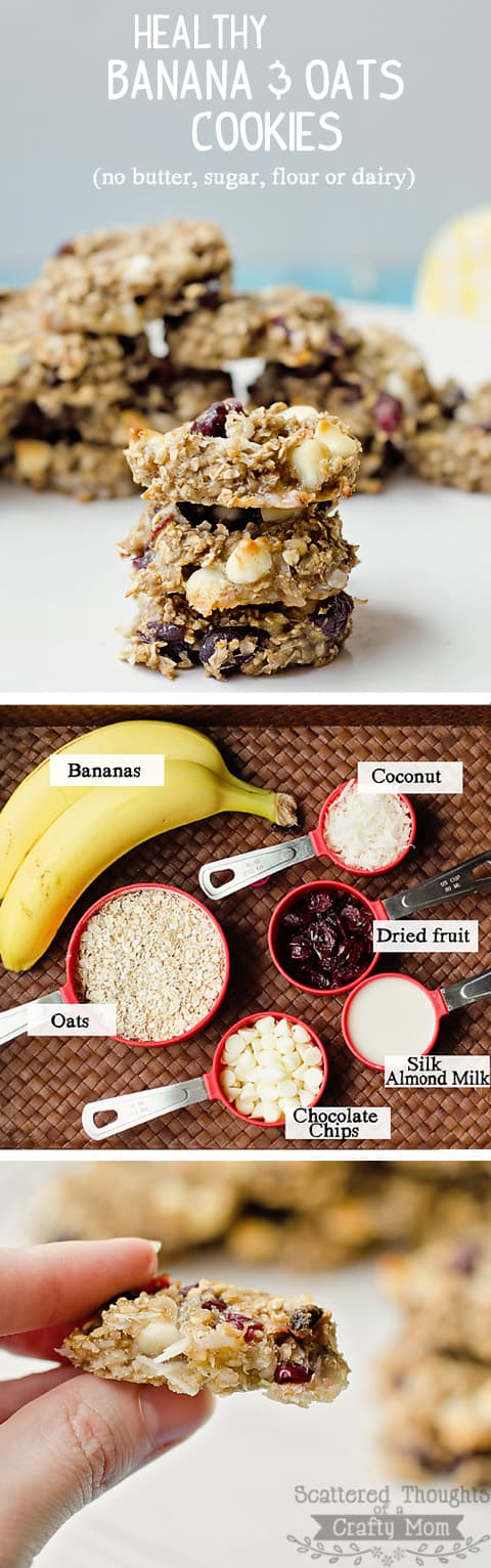 Healthy Banana and Oatmeal Cookies: These healthy, banana oat cookies are dairy free, and depending on your add-ins, gluten and sugar free too.  So yummy and healthy, you could serve them for breakfast.