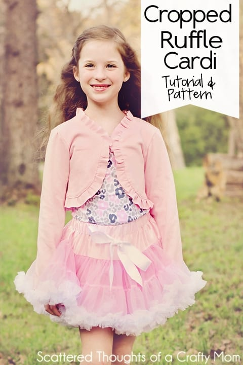 Free Pattern and Tutorial to make a girls cropped ruffled cardigan or shrug