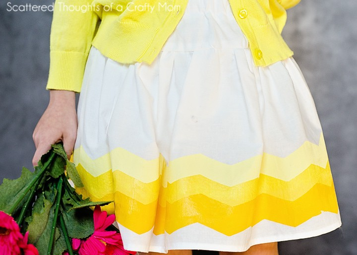 Hand Painted Ombre Chevron Border Fabric Skirt