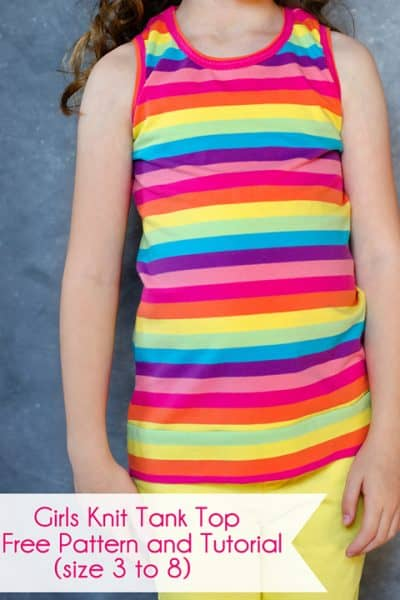 Girls Knit Tank Top Pattern and Tutorial (size 3 to 8)