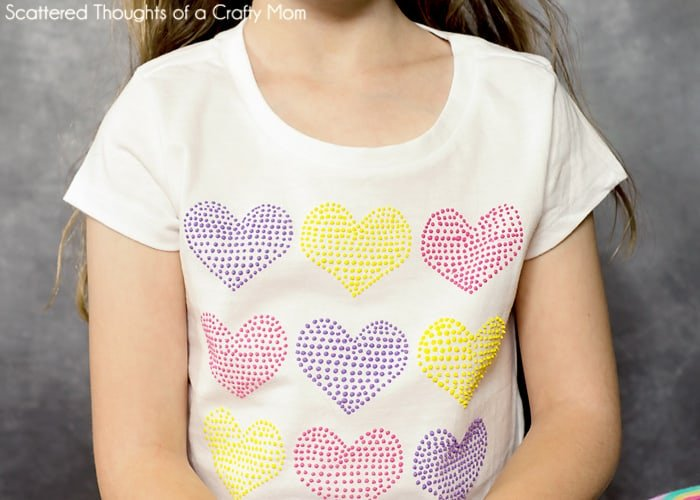 Textured Hearts Stenciled T Shirt With Puff Paint Scattered Thoughts Of A Crafty Mom By Jamie Sanders