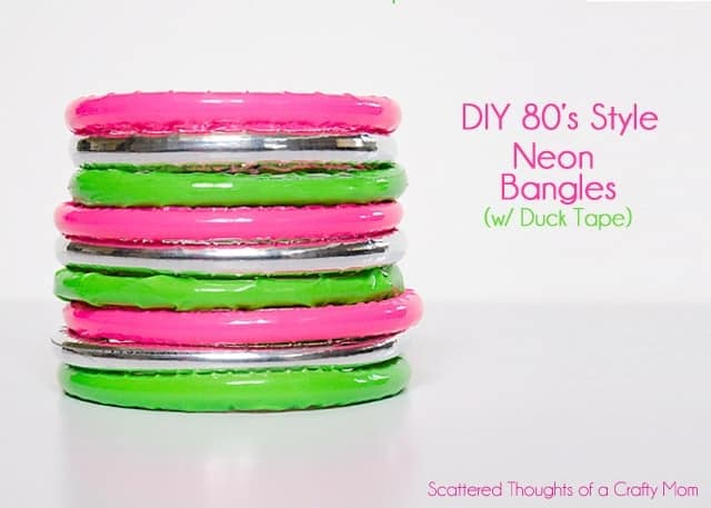 Make these cute 80's inspired neon bangles using duck tape! #ducktape