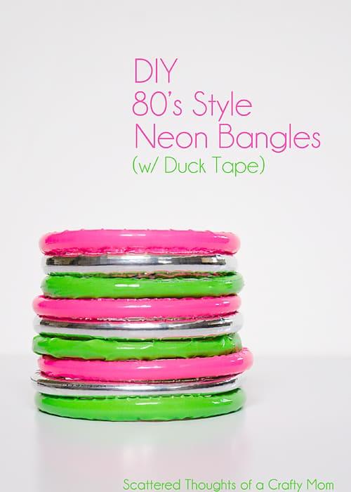 Make these cute 80's inspired neon bangles using duck tape! #ducktape