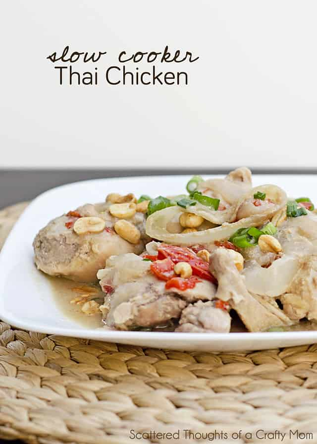 Slow Cooke Thai Chicken Recipe  (The Peanut Butter and Coconut Milk really make the chicken thighs delicious!) #chicken