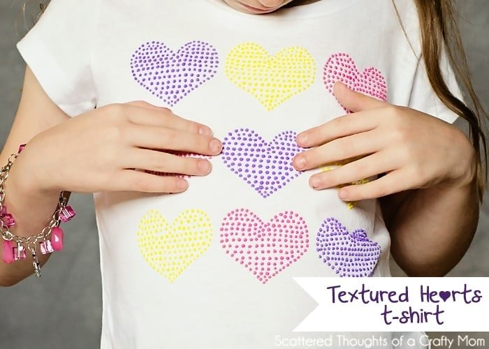 Textured Hearts Stenciled T Shirt With Puff Paint