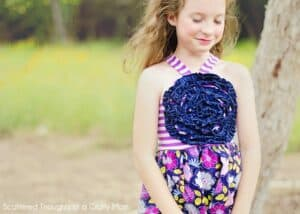 girl's Halter-Style Ruffled Flower Sundress tutorial w/ a free pattern.