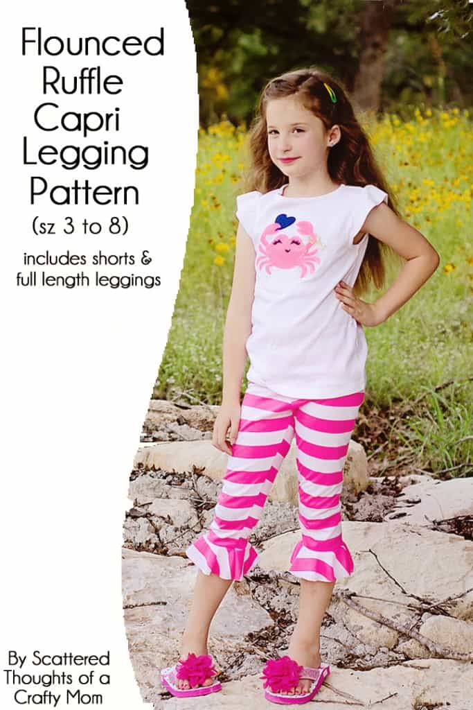Flounced Ruffle Capri Legging pattern (includes full length legging, flounced capri and shorts) Free! Comes in sizes 3 to 8.