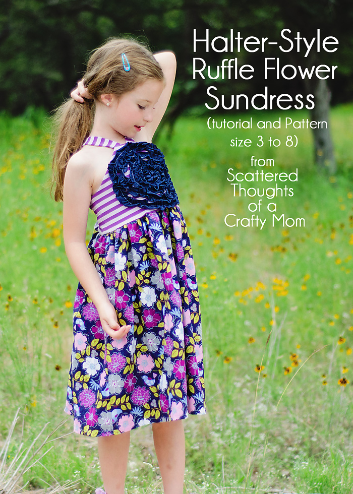 Girl's Halter-Style Ruffled Flower Sundress tutorial w/ a free pattern.
