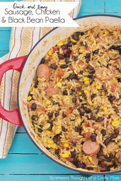 Sausage Chicken and Black Bean Paella