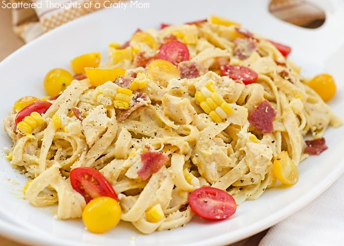 Fettuccine w/ Bacon, Chicken ad Fresh Corn Pesto