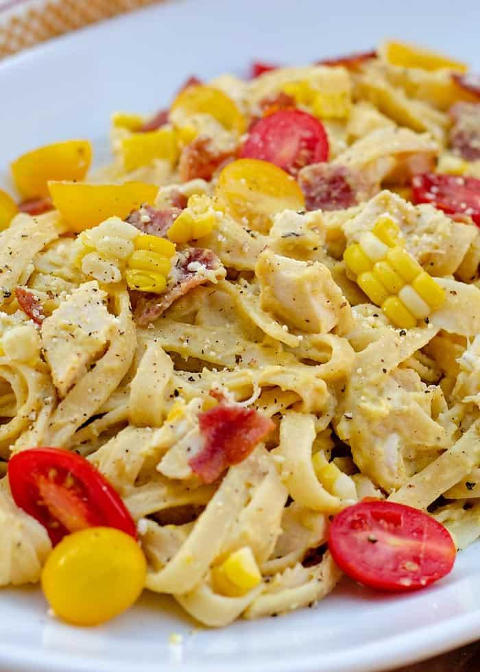 fresh corn pesto pasta