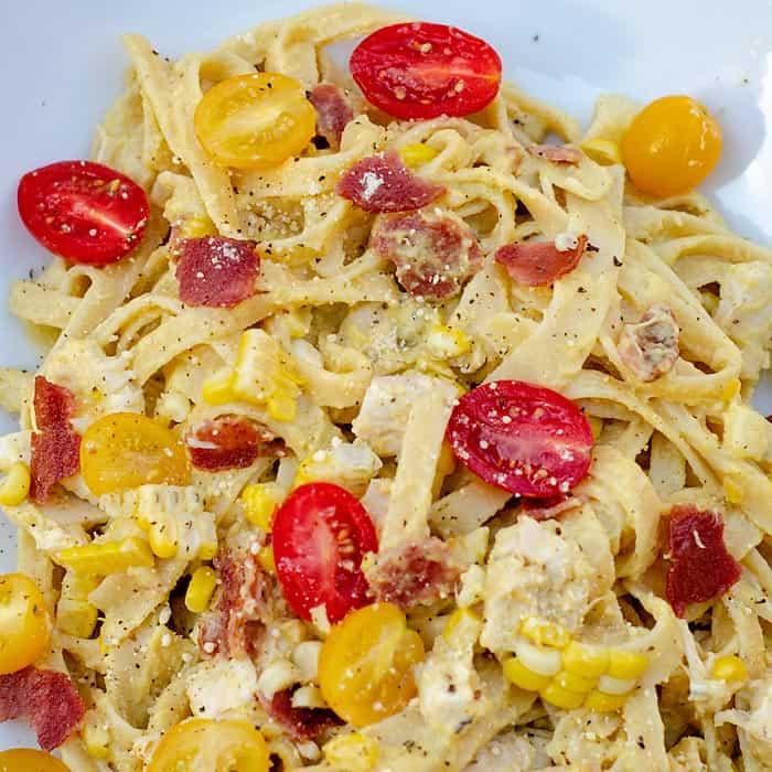 fettuccini with corn pesto