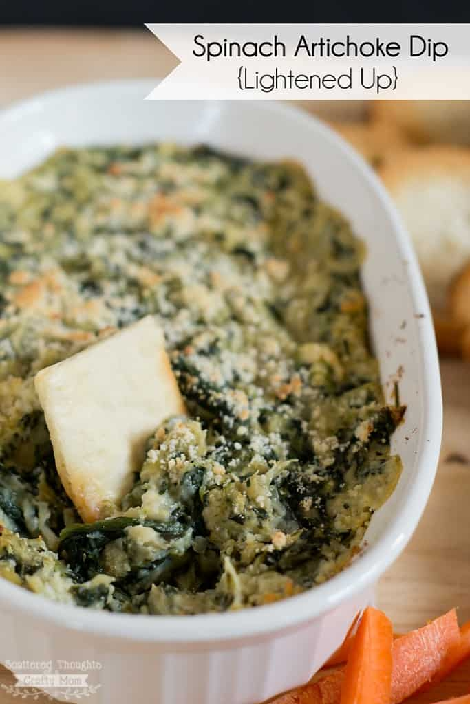 Serve this lightened up version of Spinach and Artichoke Dip with sliced veggie sticks or baked chips as as a healthy alternative to the full fat version!
