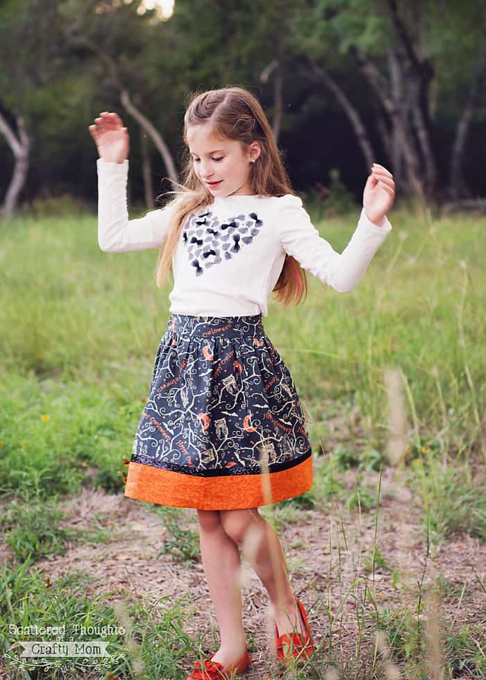 skirt with halloween fabric