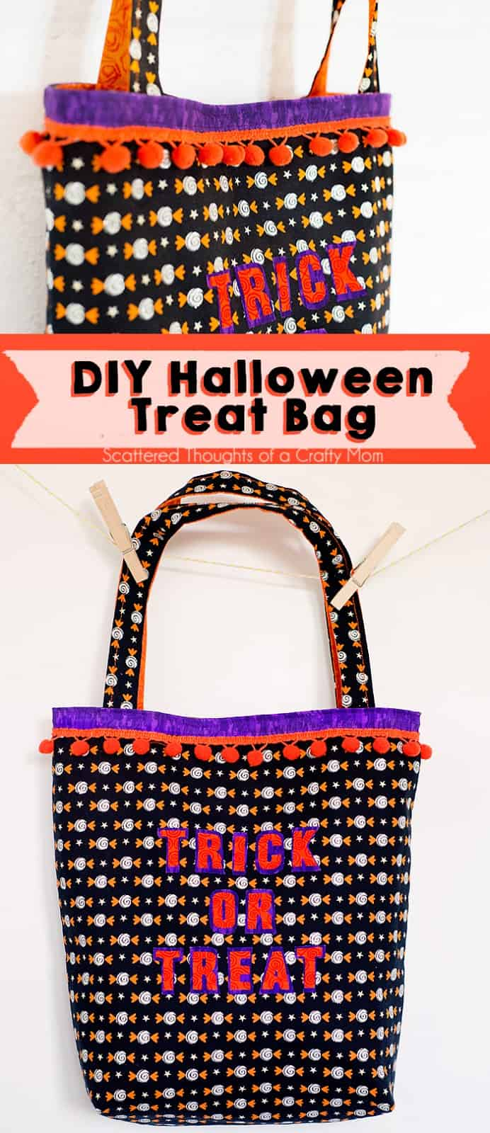 Make an easy DIY Tote bag for your Halloween candy with this easy to follow, Halloween Trick or Treat Bag tutorial.