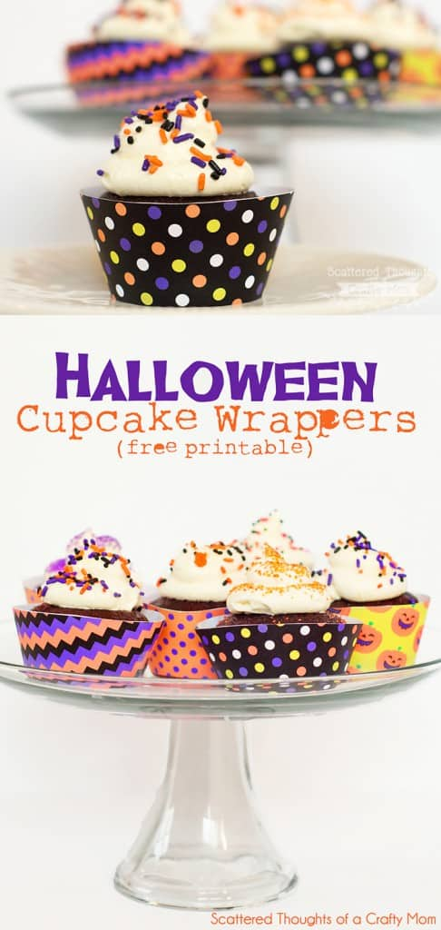 Halloween Cupcake Wrappers. (free printable PDF)