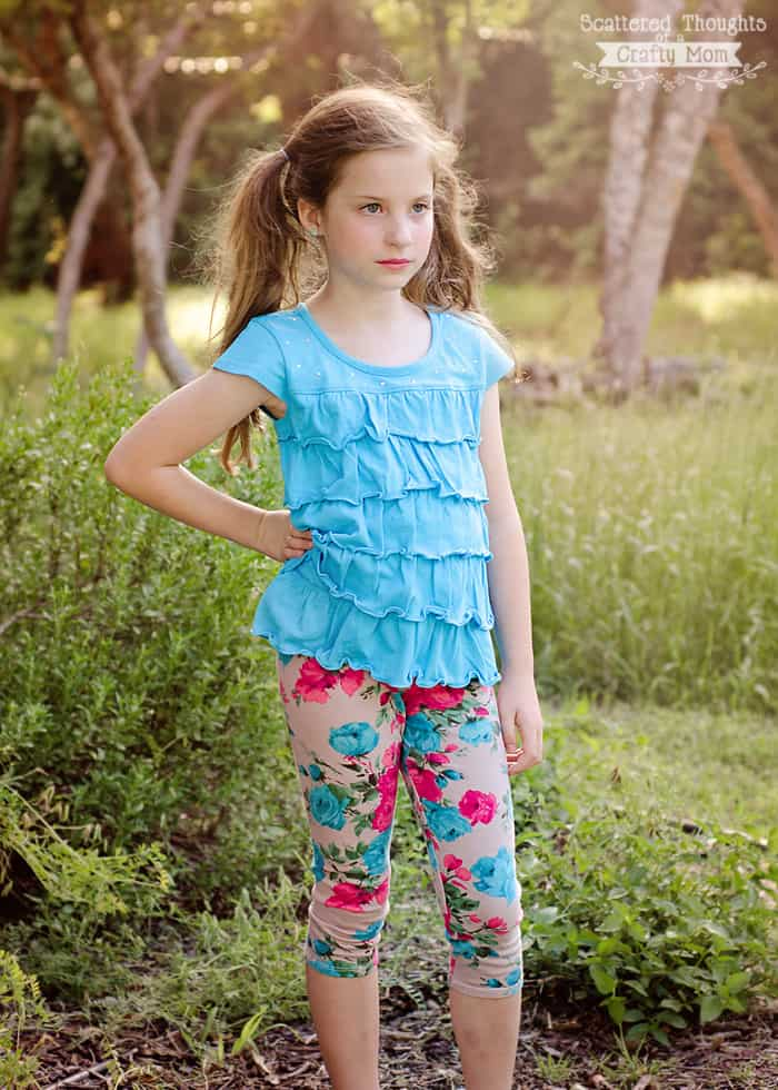 Floral leggings are super trendy! Sew a pair for your little miss w/ this free Girl's Basic Legging, sz 3 to 12.