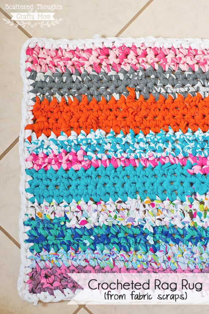 Make a simple crochet rag rug using fabric scraps or t-shirts!