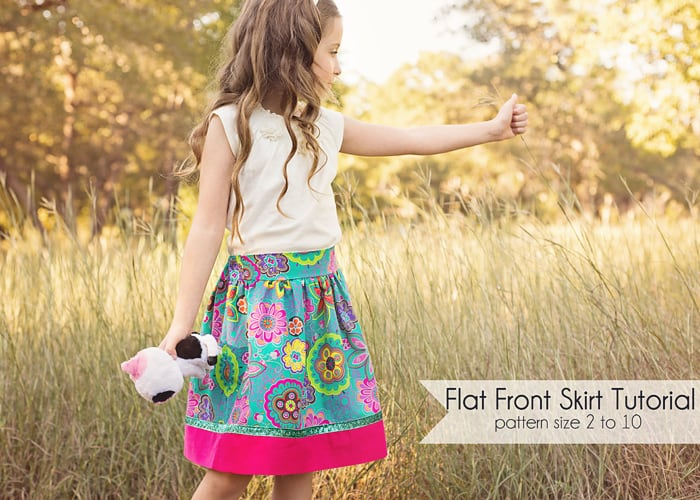 How to sew a flat front skirt, free pattern size 2 to 10