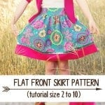 Free Flat Front Skirt Sewing Pattern for girls.