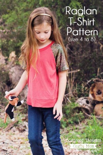 Make a bling-ed out version of a Raglan Tee for your lilttle miss with this free Raglan T-Shirt Pattern!