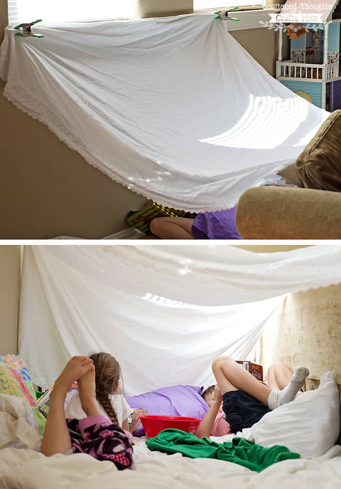 How to build a fort or tent with a sheet