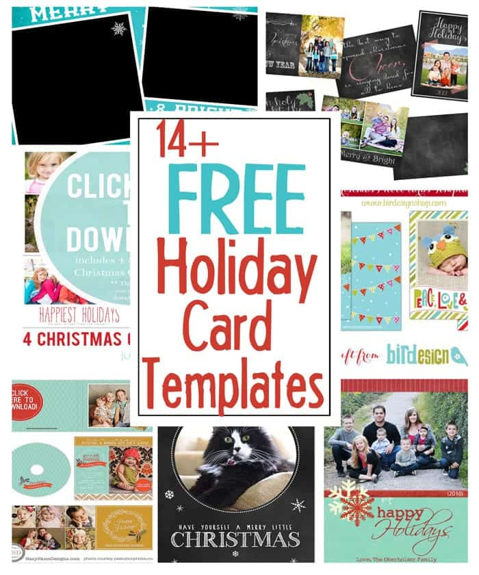 14 free photo templates for holiday cards.