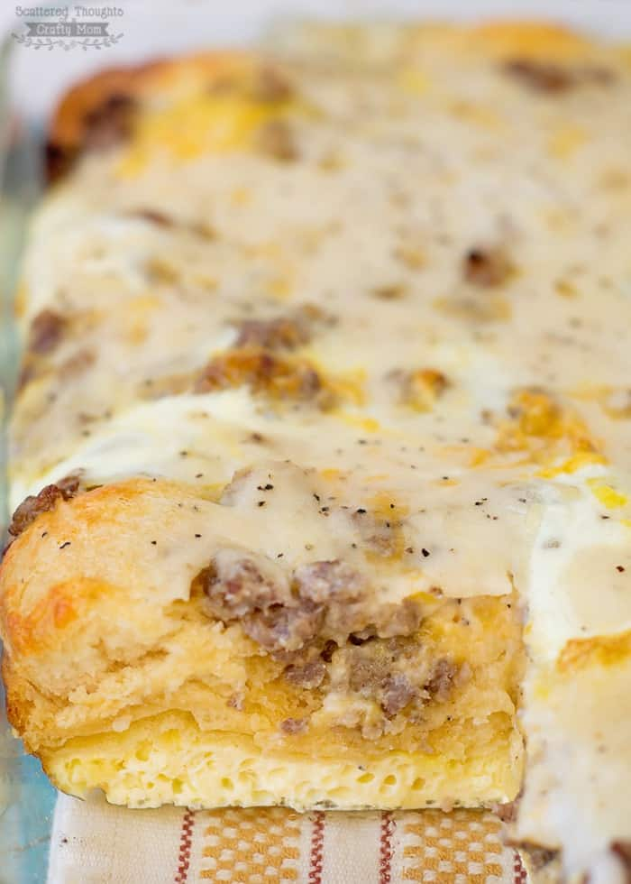 Biscuits and Gravy with Sausage and Egg Breakfast Casserole (biscuits and gravy casserole)