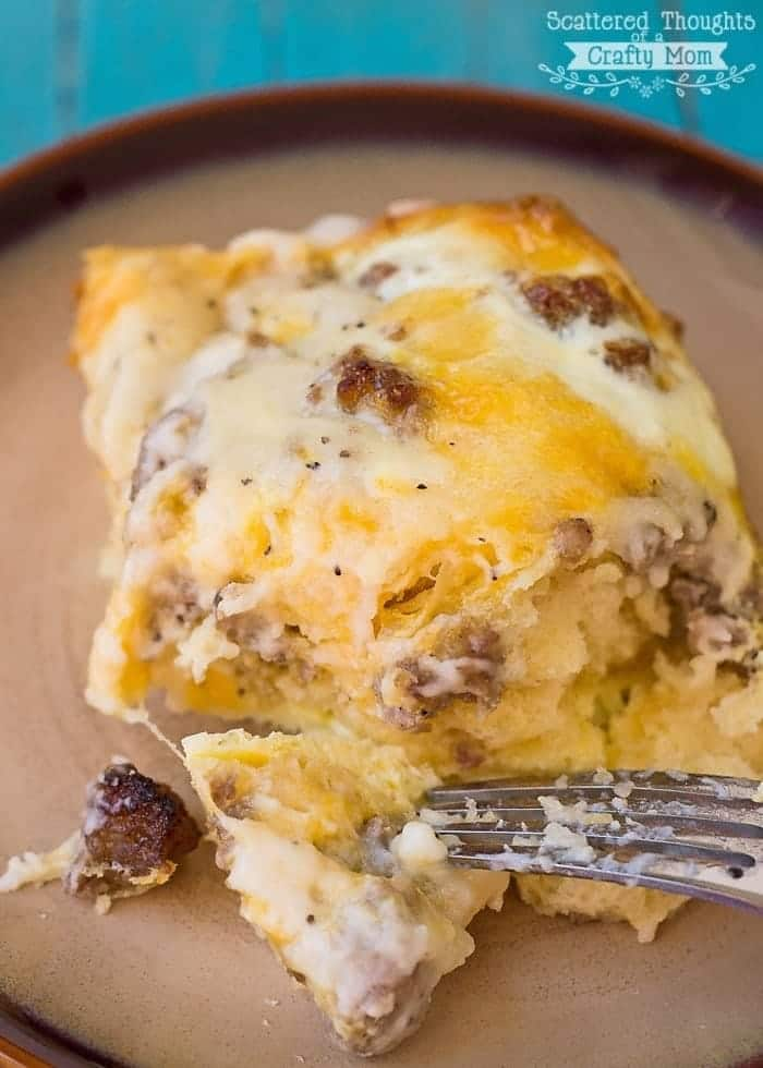 Biscuits and Gravy with Sausage and Egg Breakfast Casserole | 19 Quick Breakfast Ideas