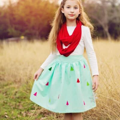 Felt Applique Christmas Skirt Tutorial