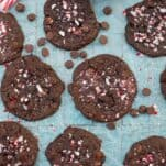 These Double Chocolate Peppermint Cookies are so easy to make (made with a boxed cake mix) and are a great way to use up those candy canes!