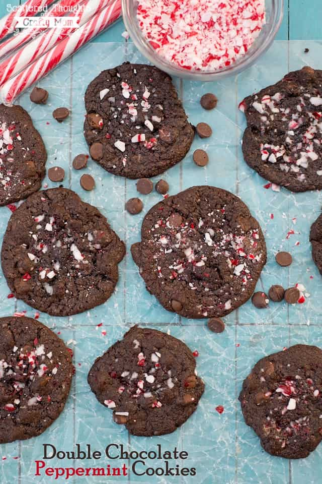 Easy Double Chocolate Peppermint Cookies. (Make with leftover Candy Canes and a boxed cake mix.)