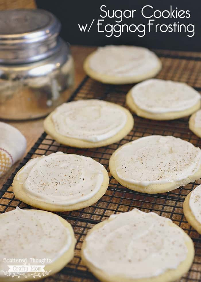 Yummy Holiday Cookies topped with Eggnog Frosting! This yummy frosting recipe pairs with all different kind of cookies. The frosting dries to a soft yet firm finish, so they are perfect for gift giving or transporting to your next holiday party.