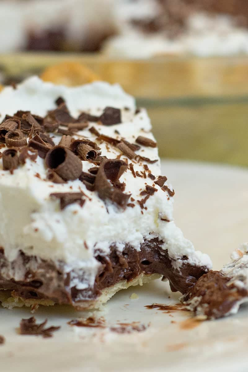 This Homemade Chocolate Cream Pie Recipe is so chocolatey, creamy and delicious! You'll be surprised at how easy it is to make.