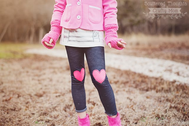 Heart Appliqued Leggings (No-Sew)
