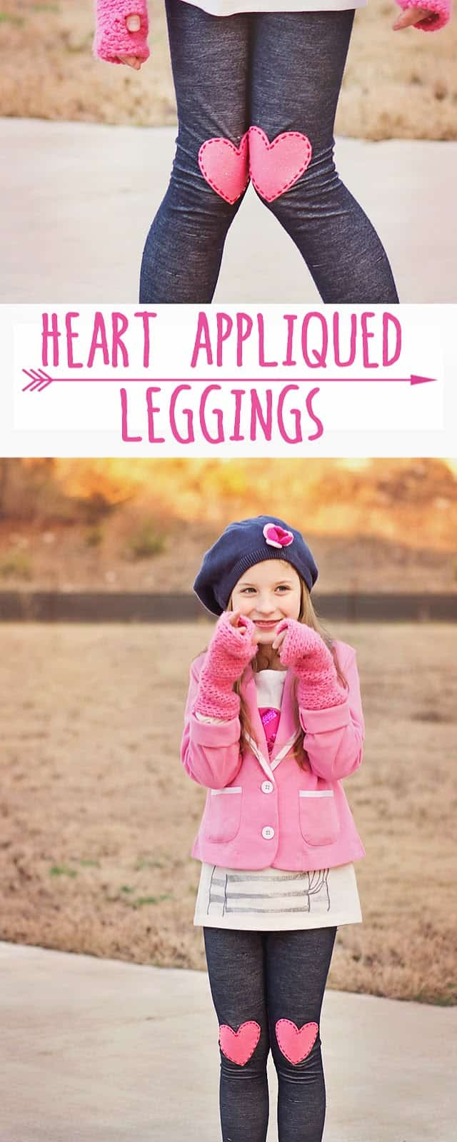 Make these adorable Heart Appliqued Leggings for Valentines Day- NO SEWING!