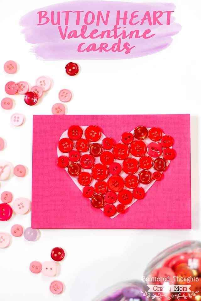 These button heart cards are a perfect craft for kids and adults.  So perfect for Valentines Day!  (I love this craft for using up my button stash.)