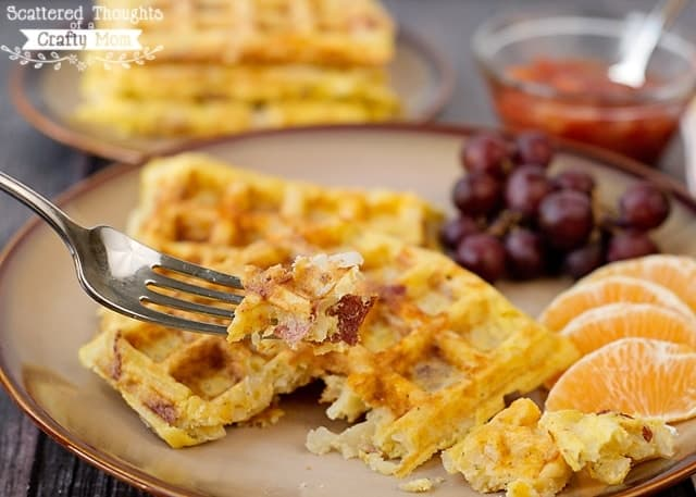 Super easy, Potato, Egg and Cheese Waffles (with bacon!)