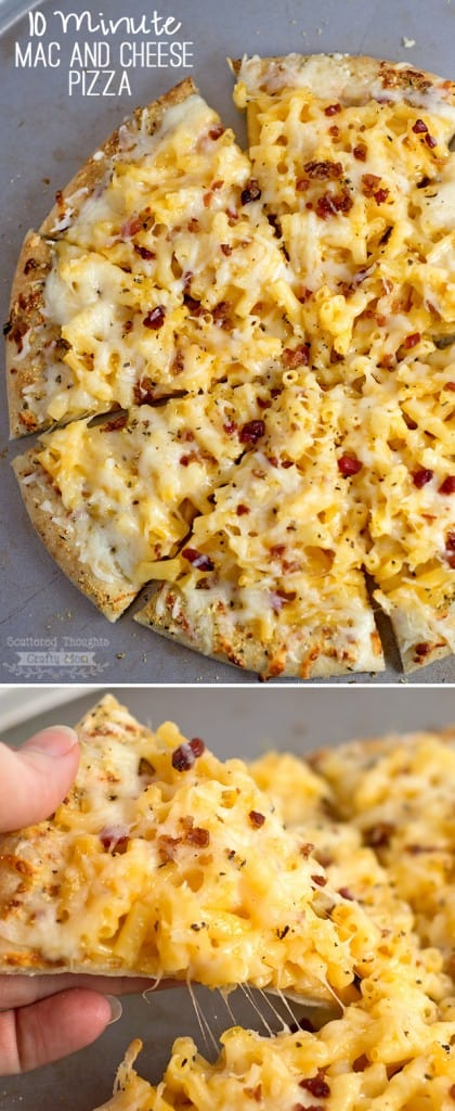 This Easy Mac and Cheese Pizza recipe is a great Last Minute Dinner Idea your kids will love!