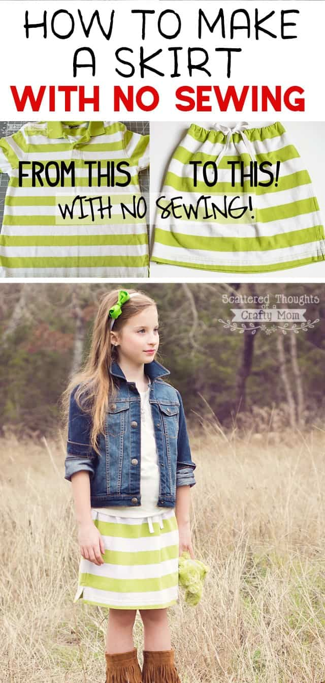 How to make a skirt with no Sewing!  Go from a Man's polo shirt to this adorable striped skirt in 10 minutes- with NO SEWING! ( 10 minute skirt )