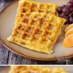 Potato, Egg and Cheese Waffles (with bacon!)