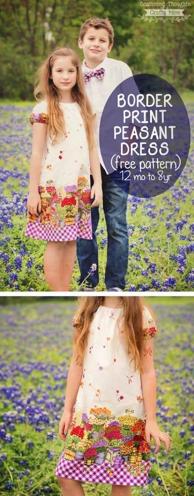 Border Print Peasant Dress (free pdf pattern, size 12 mo to 8yrs)