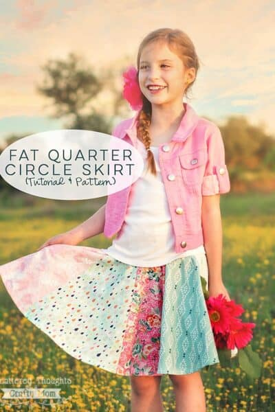 Sew a circle skirt with fat quarters using this free pattern (sizes 3 to 10) and tutorial.